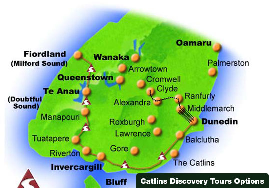 Catlins Discovery Tour Map